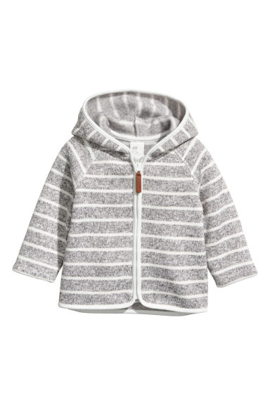 Knitted fleece hooded jacket - Light grey/Striped - Kids | H&M CN