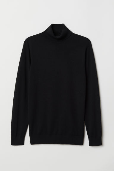 Knitted polo-neck jumper - Black - Men | H&M CN