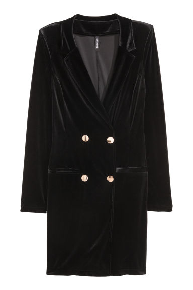 Robe-manteau in velour - Nero -  | H&M CH