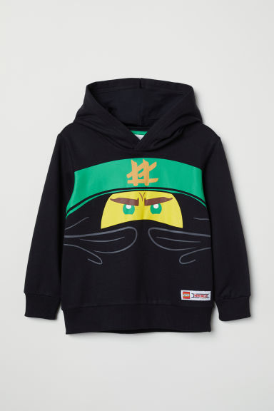 Printed hooded top - Black/Ninjago - Kids | H&M CN