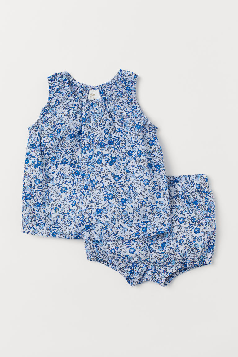 Top and shorts - Blue/White floral - Kids | H&M