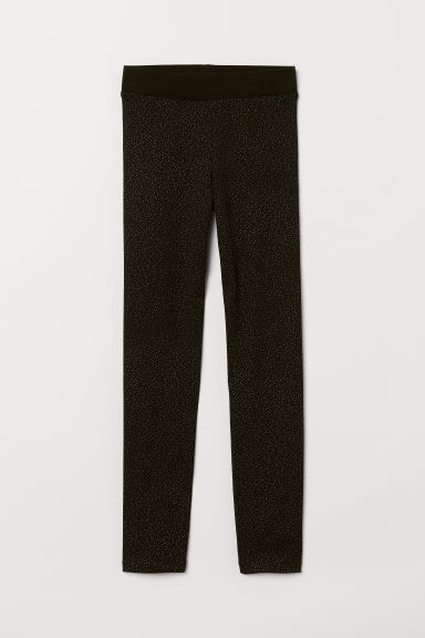 Leggings with brushed inside - Black/Glittery - Kids | H&M IN