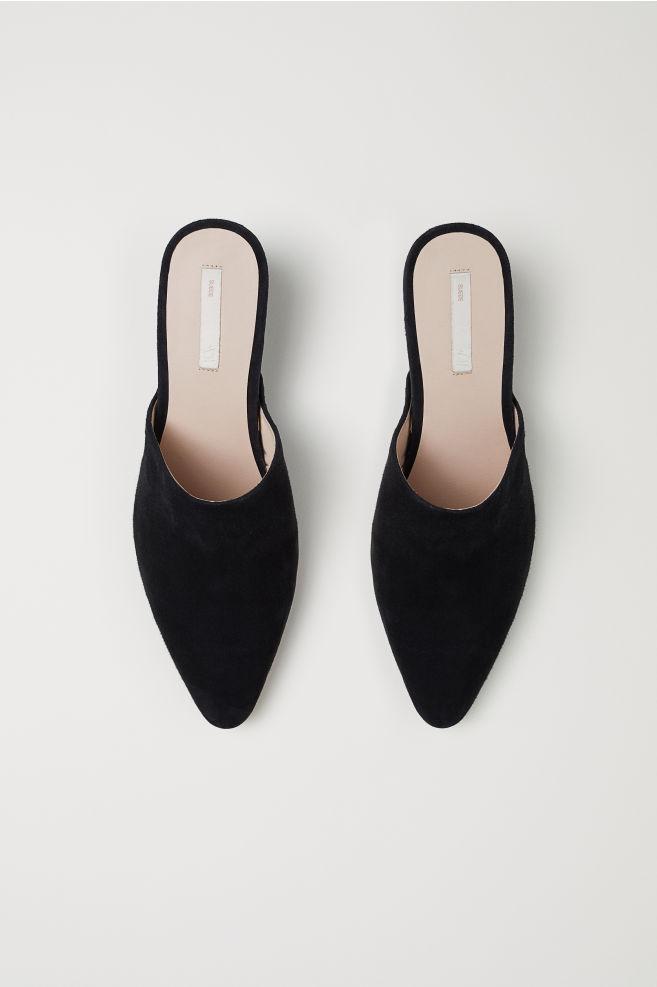 Sandales façon mules en suède - Noir - | H&M FR 2
