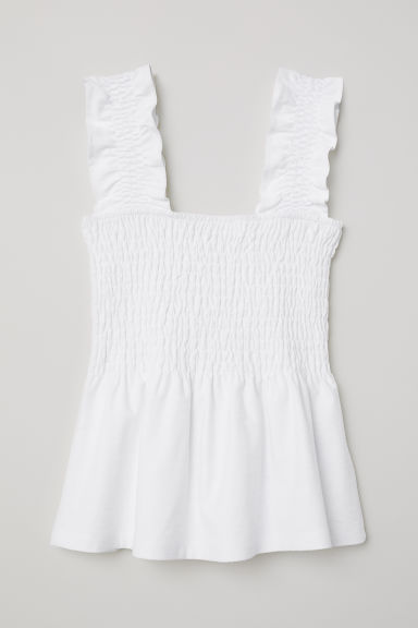 Smocked peplum top - White - Ladies | H&M