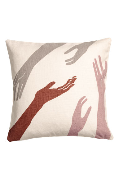 Cushion cover with a motif - Natural white/Multicoloured -  | H&M IE