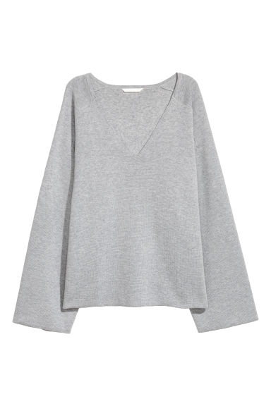 Pull à encolure en V - Gris chiné -  | H&M BE