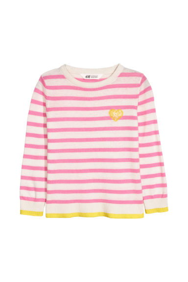Pull en maille fine - Blanc/rose/rayé -  | H&M CH