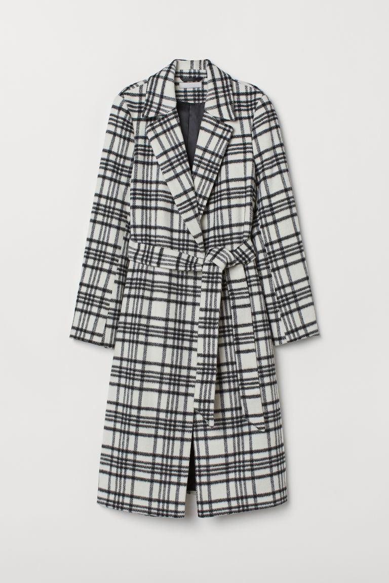 Wool-blend coat - White/Black checked - Ladies | H&M CN