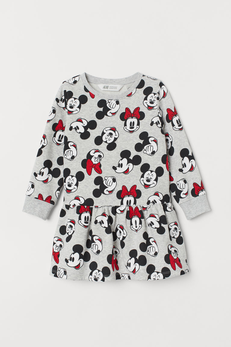Robe en molleton - Gris clair chiné/Minnie - ENFANT | H&M BE