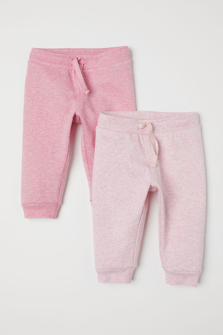 2-pack cotton joggers - Pink marl - Kids | H&M