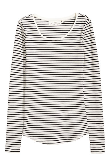 Long-sleeved Jersey Top - White/blue striped - Ladies | H&M US