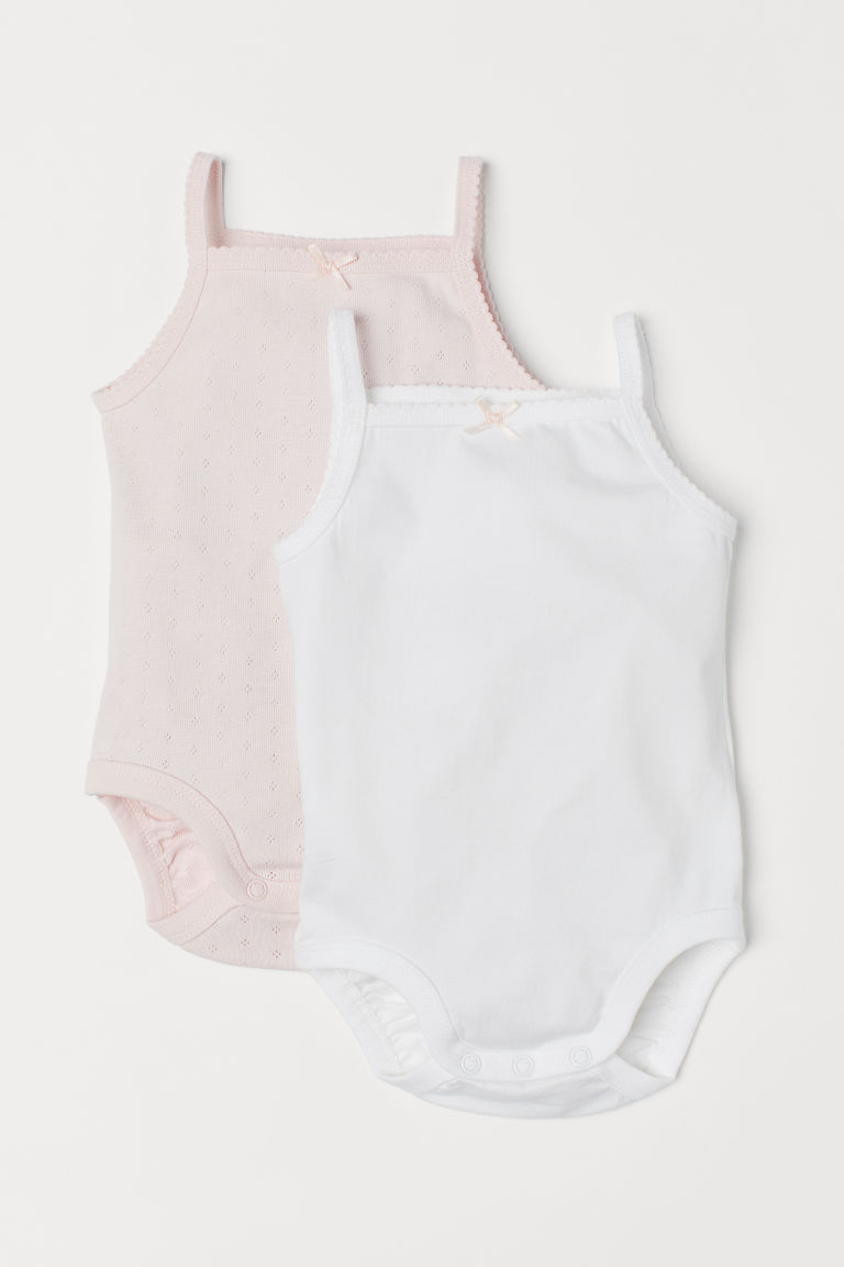 Bodies, lot de 2 - Blanc/rose clair - ENFANT | H&M BE