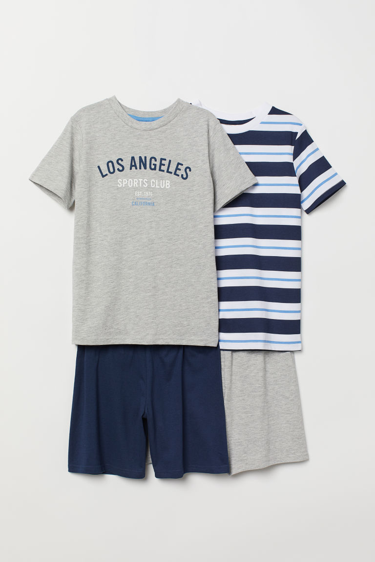 2-pack jersey pyjamas - Dark blue/Striped - Kids | H&M CN