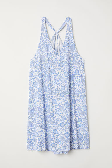 Modal-blend dress - White/Blue floral - Ladies | H&M