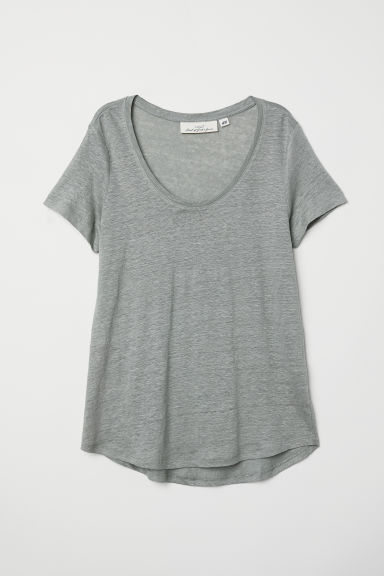 Linen T-shirt - Khaki green - Ladies | H&M IE