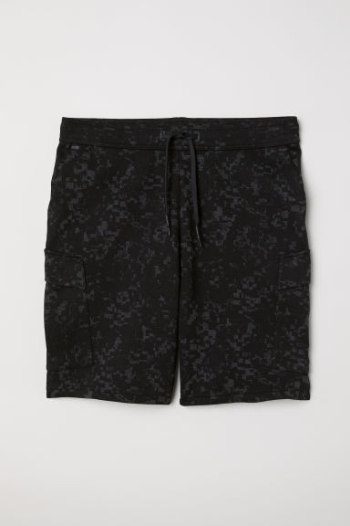 Cargo-pocket sports shorts - Black/Grey patterned - Men | H&M