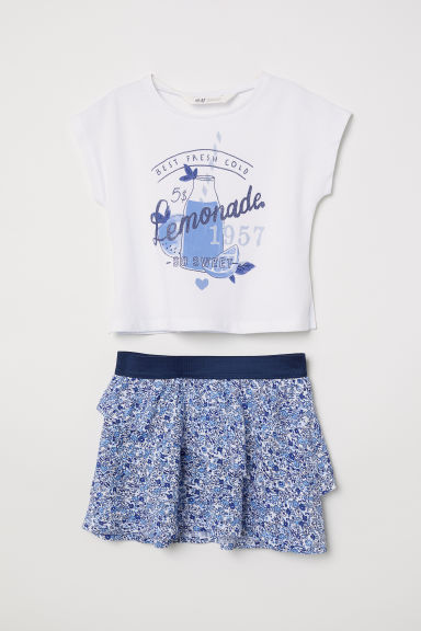Top and skirt - White - Kids | H&M CN