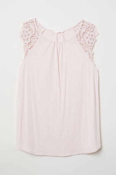 Jersey top with lace - Powder pink - Ladies | H&M