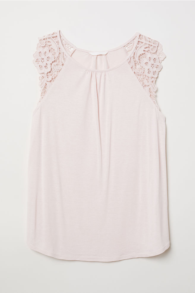 d5159d6bfb7dc Jersey Top with Lace - Powder pink - Ladies