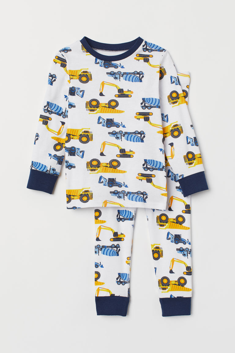 Jersey pyjamas - White/Vehicles - Kids | H&M