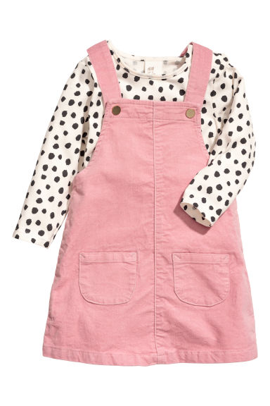 Jersey top and dungaree dress - Old rose/Natural white - Kids | H&M CN