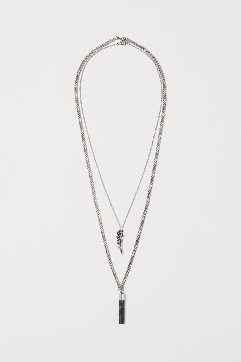 2-pack necklaces - Silver-coloured/Marbled - Men | H&M