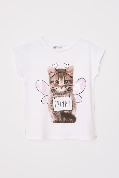 Top with a print motif - White/Kitten - Kids | H&M