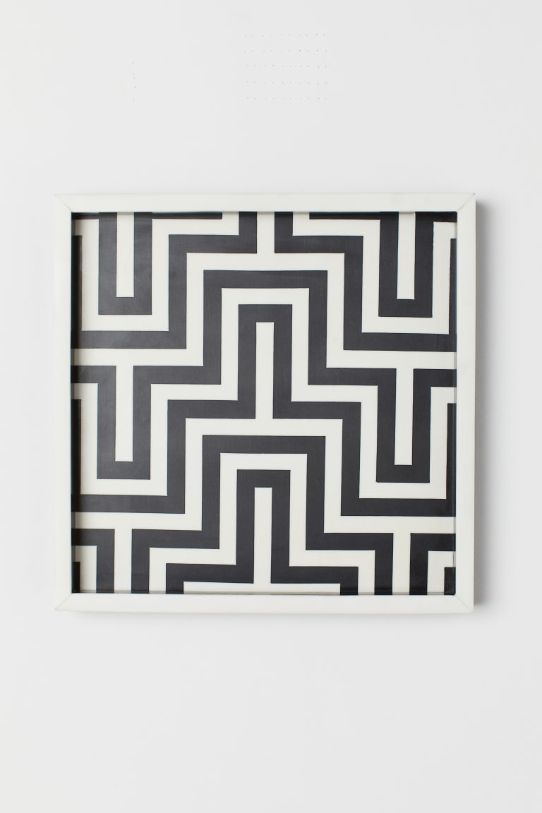 Synthetic resin tray - Black/White patterned - Home All | H&M CN