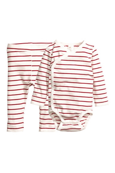 Bodysuit and trousers - Natural white/Red striped - Kids | H&M CN