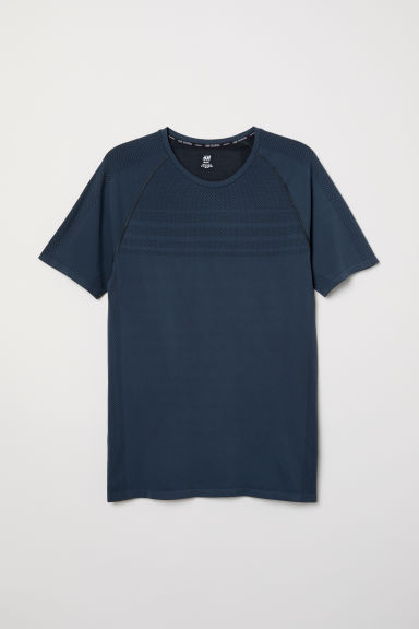 Seamless loopshirt - Donkerblauw - HEREN | H&M BE