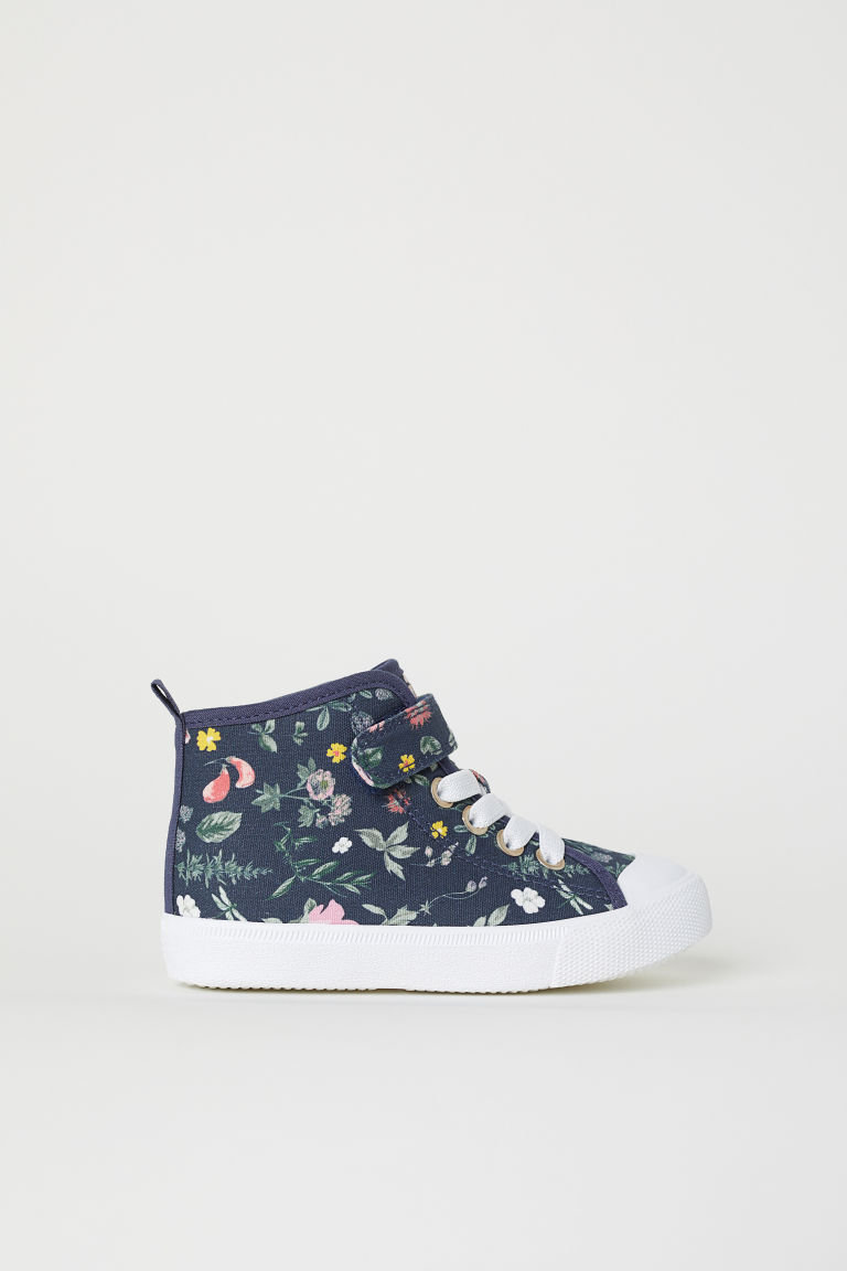 Hi-top trainers - Dark blue/Floral - Kids | H&M