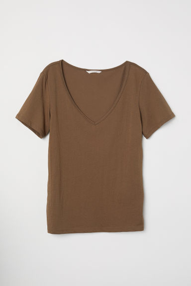 V-neck cotton top - Brown -  | H&M CN