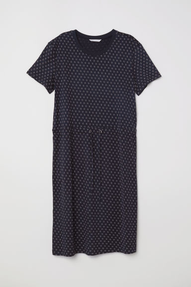 Jersey dress with a drawstring - Dark blue/Patterned - Ladies | H&M CN