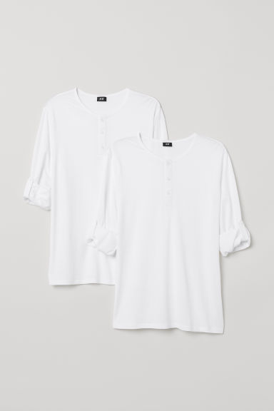 2-pack Henley shirts - White - Men | H&M