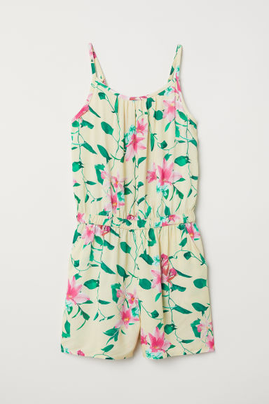 Playsuit - Light yellow/Floral - Kids | H&M CN