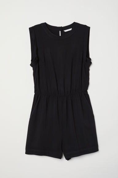 Sleeveless playsuit - Black - Ladies | H&M IN