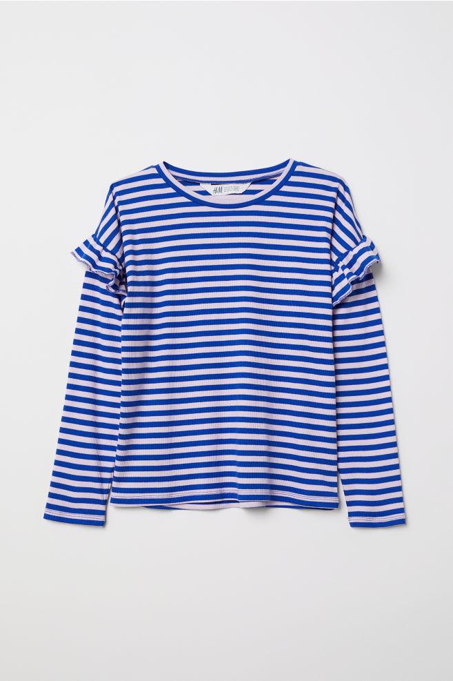 5ef6e34c898c Ribbed top with flounces - Light pink Blue striped - Kids
