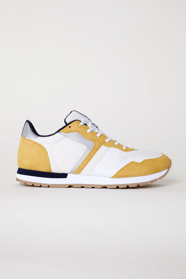 Mesh trainers - White/Mustard yellow - Men | H&M