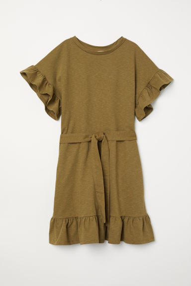 Flounced jersey dress - Khaki green - Ladies | H&M