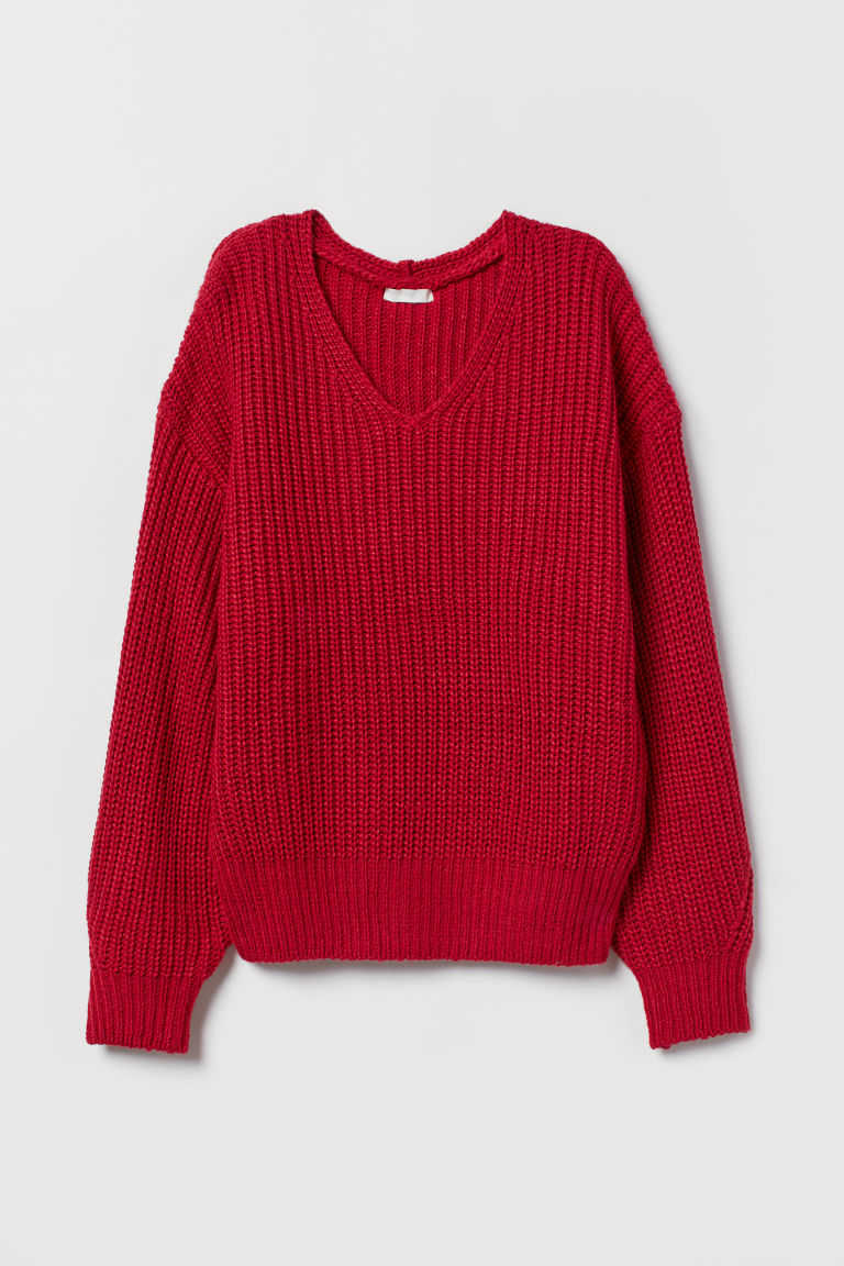 V-neck Sweater - Red - Ladies | H&M US