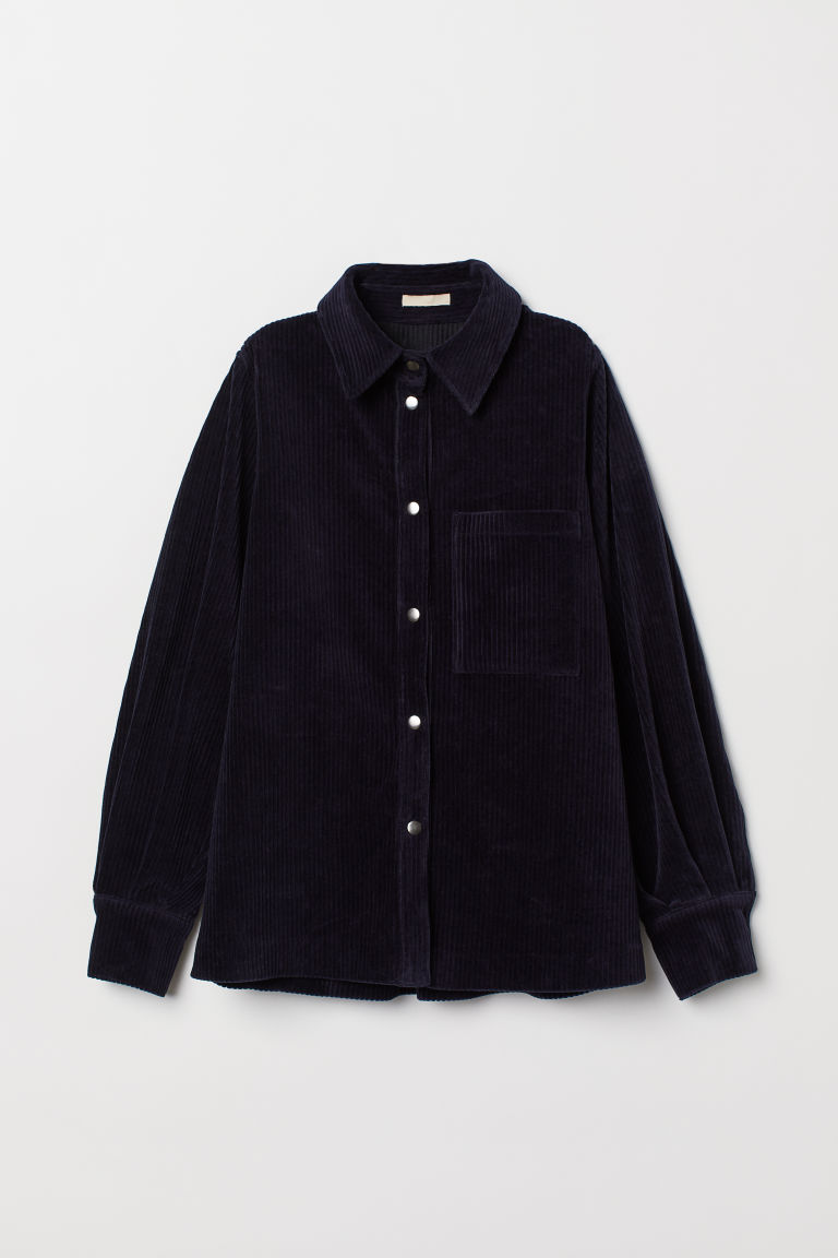 Corduroy blouse - Dark blue - Ladies | H&M CN
