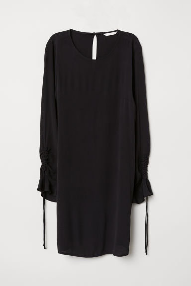 Flounce-sleeved dress - Black -  | H&M CN