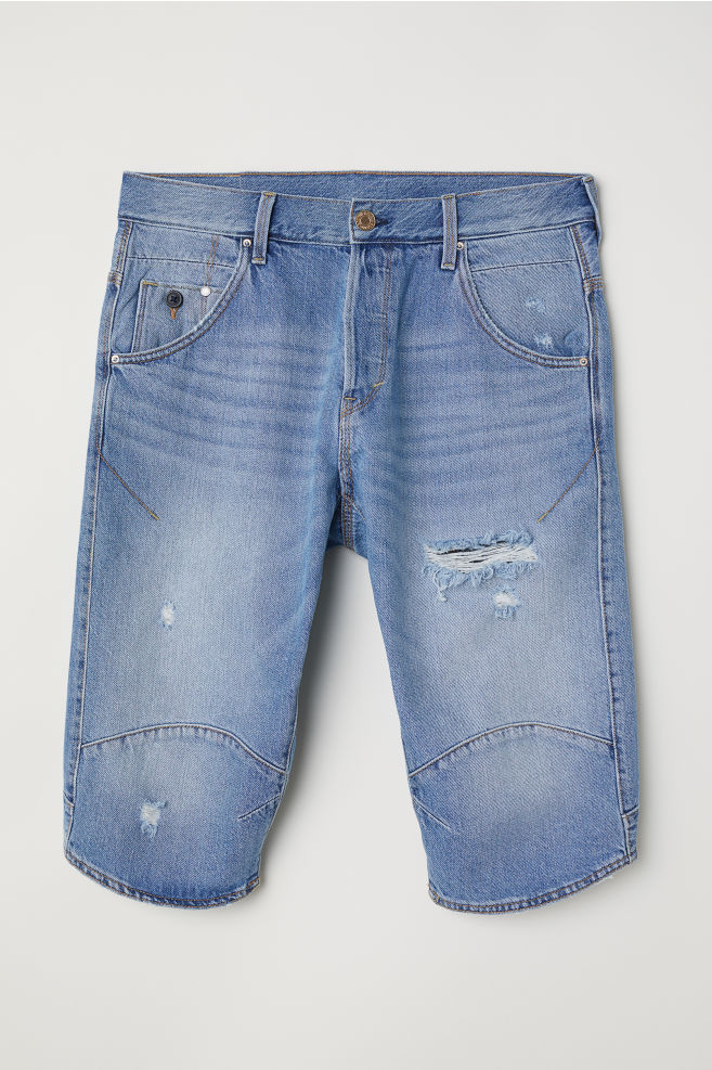 Hm Heren Korte Broek.Denim Short Straight Fit Lichtblauw Trashed Heren H M Nl