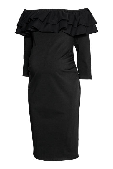 MAMA Off-the-shoulder dress - Black - Ladies | H&M IE
