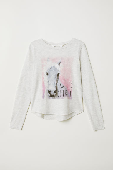 Jersey top - Light grey marl/Wild Spirit - Kids | H&M CN