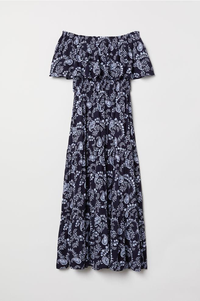 7cbbbd733e00 Off-the-shoulder dress - Dark blue Paisley-patterned - Ladies