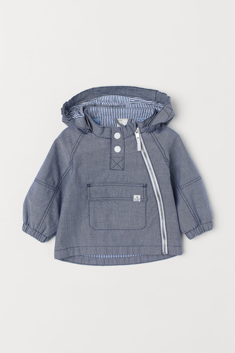 Cotton popover jacket - Blue - Kids | H&M CN