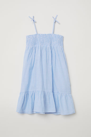 Cotton dress with smocking - Light blue/White striped - Kids | H&M
