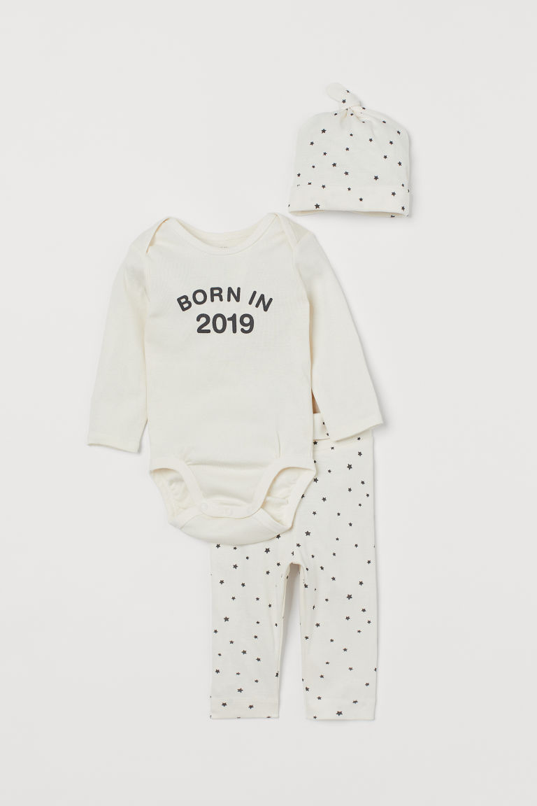 3-piece cotton jersey set - Natural white/Born in 2019 - Kids | H&M GB