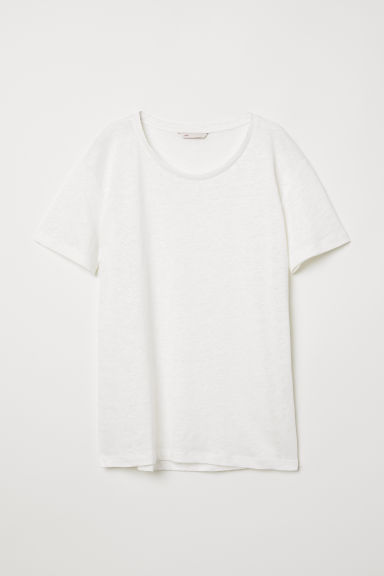 Linen T-shirt - White - Ladies | H&M CN